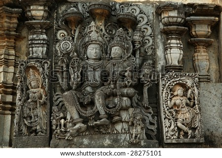 Laxminarayan statue in Halebid temple - masterpiece of Hoysala art. India - stock photo