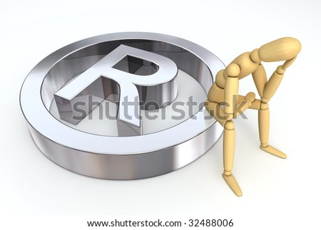 lay figure sitting thinking on silver registered trademark symbol - stock photo