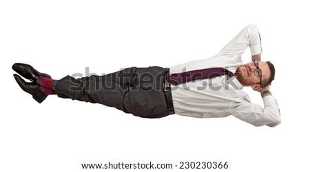 layed businessman isolated on white background - stock photo
