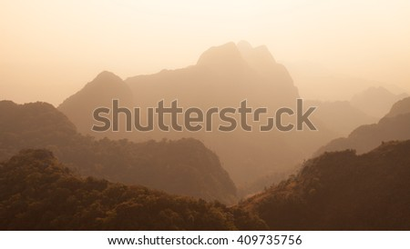 Layer of mountain, Thailand - stock photo