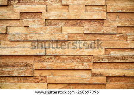 layer of wood plank arranged as a wall - stock photo
