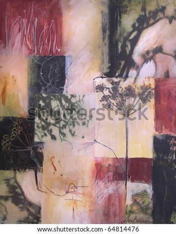 Layered acrylic abstract painting with collage photographs of shadows and fennel. - stock photo