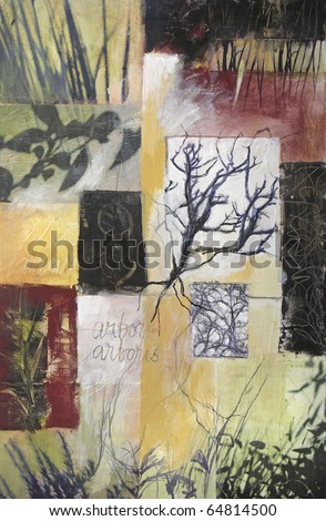 Layered collage acrylic painting with photographs of trees, leaves, reeds, and handwritten text. All aspects of this expressionistic abstract are photographer's own work. - stock photo