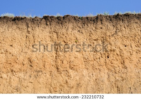 Layered cut of soil - stock photo