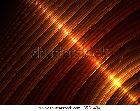 Layered hues of shiny golden brown, computer generated, fractal abstract background.