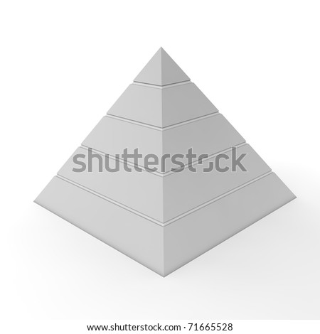 Layered Pyramid Chart Template Five Levels Stock Illustration