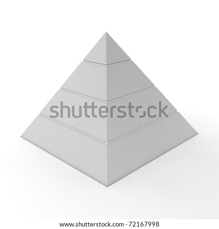 layered pyramid chart template with four levels in light grey - stock photo