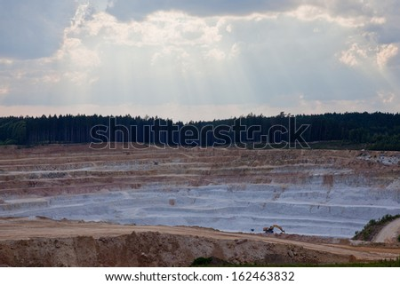 Layers at  open pit mine - stock photo