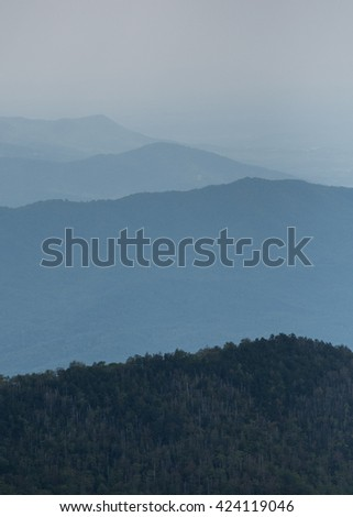 Layers of Foggy Ridges in Southern Appalachian Mountains in the Great Smoky Mountains National Park - stock photo