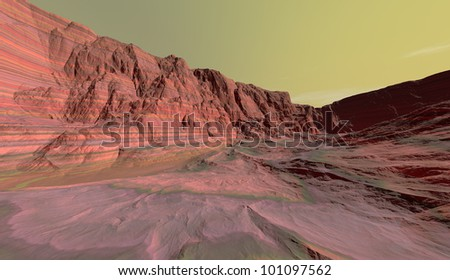 Layers of Martian pyroxene and olivine interspersed with water-borne clays - stock photo