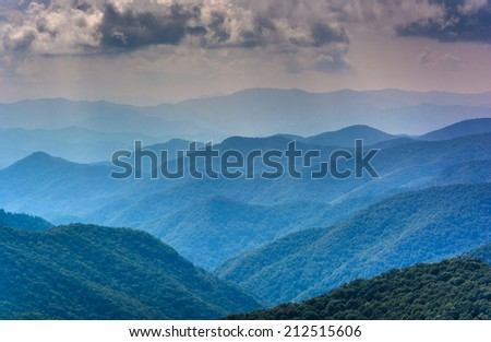 Layers of the Blue Ridge Mountains seen from the Blue Ridge Parkway in North Carolina. - stock photo