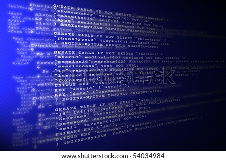 Layers of Website's  PHP, HTML, and CSS code - stock photo