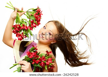 Laying beautiful  young woman with flowers, isolated on white