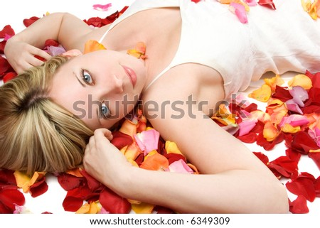 Laying in Petals - stock photo