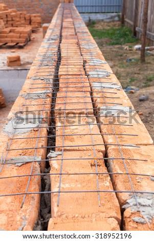Laying red brick - stock photo