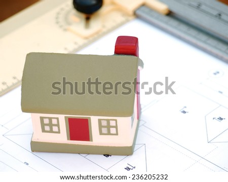 Layout and design of the building cottage layout - stock photo