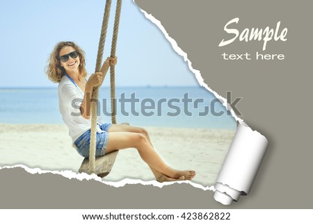 layout for advertising of tourist business. Happy girl in a bikini on a tropical beach. With the effect of torn paper and space for text - stock photo