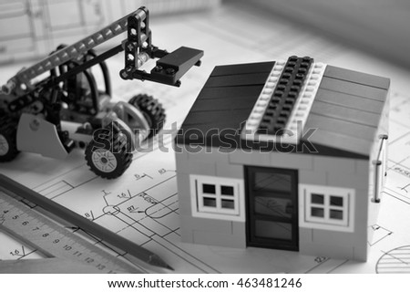 layout of the house in the background drawings. Construction concept.