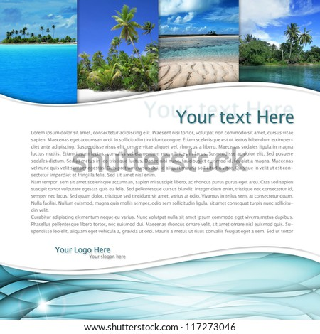 layout with tropical landscape and a blue wave - stock photo
