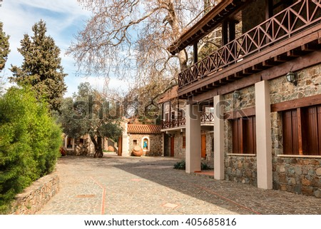 LAZANIAS, CYPRUS - MARCH 12, 2016: Machairas Monastery is a historic monastery established in 12th century, dedicated to the Virgin Mary. - stock photo