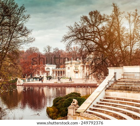Lazienki Park with Roman inspired theater and Palace on the Water in Warsaw, Poland - stock photo
