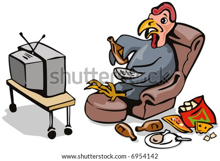 Lazy turkey watching tv