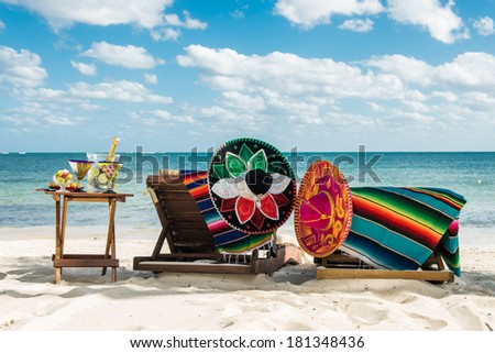 Lazy vacations on the beach by the caribbean sea. Relax outdoors. Travel background for Mexico. - stock photo