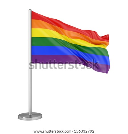 LBGT social movement symbol. Rainbow pride flag isolated on white background. - stock photo