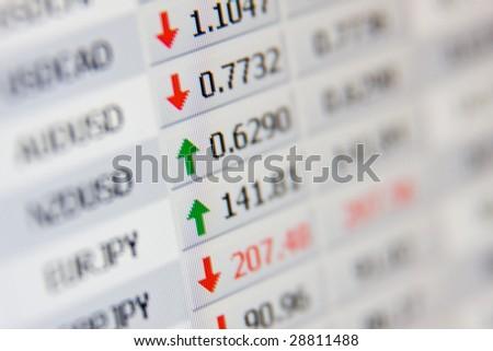 LCD closeup shot shows stock rates. - stock photo