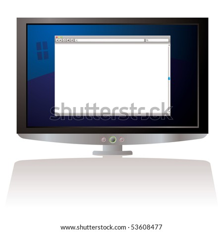 LCD Computer screen with internet web browser and shadow - stock photo