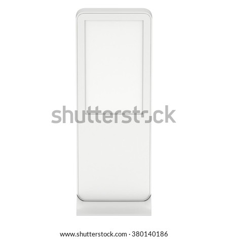 LCD Display Expo Stand. White and Blank Trade Show Expo Booth. 3d render isolated on white background. High Resolution. Ad template for your expo design.
