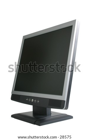 LCD display monitor isolated on white background, Contains clipping path for outside of monitor and a seperate path for the monitor so that you can put your own image in the screen. - stock photo