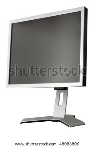 LCD display panel type side view isolated on white background - stock photo