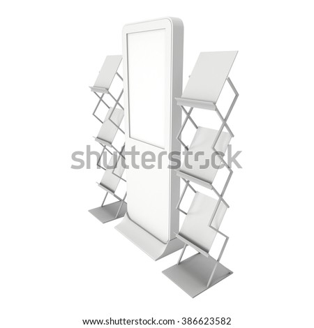 LCD Display Stand and Magazine Rack. Blank LCD Trade Show Booth. 3d render isolated on white background. High Resolution LCD. Ad template for your expo design. - stock photo