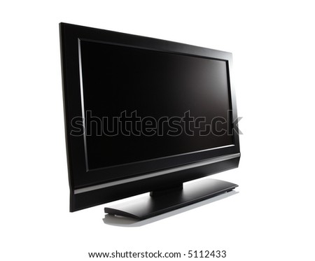 LCD high definition flat screen TV against white background - stock photo