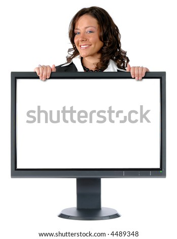 LCD monitor and businesswoman isolated over a white background - stock photo