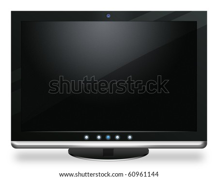 lcd monitor isolated on white - stock photo
