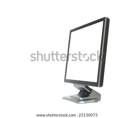 LCD monitor with blank white screen isolated on white