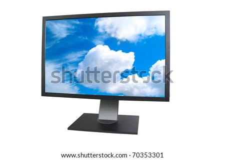 LCD monitor with empty screen isolated on white - stock photo