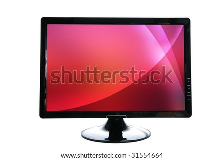 LCD monitor with red absatract screen - stock photo