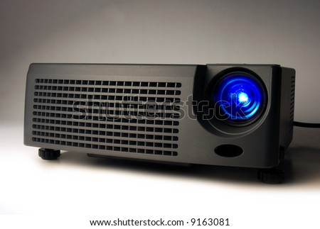 LCD projector with light on