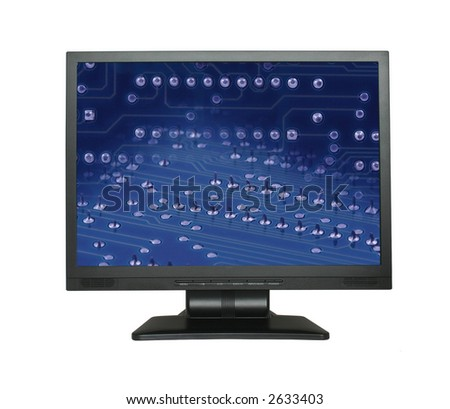 LCD screen with electronic wallpaper - PHOTO INSIDE IS MY PROPERTY - stock photo