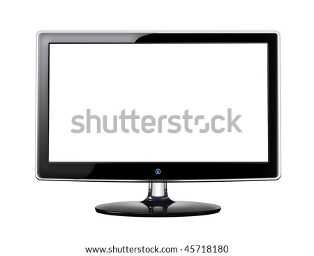 LCD screen with white display on white background - stock photo