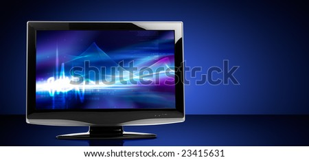 LCD television set on reflective table