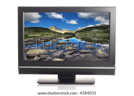 LCD TV displaying a beautiful landscape picture - stock photo