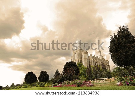 LDS Temple in Logan Utah  - stock photo
