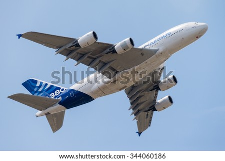 LE BOURGET, FRANCE - JUN 16, 2015: Demonstration flight of the largest passenger airliner in the world, Airbus A380 passenger airplane at the 51st International Paris Air show. - stock photo