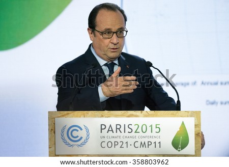 LE BOURGET near PARIS, FRANCE - NOVEMBER 30, 2015 : French President Francois Hollande during the conference about Solar Alliance at the Paris COP21, United nation conference on climate change.  - stock photo