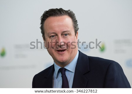 LE BOURGET near PARIS, FRANCE - NOVEMBER 30, 2015 : Prime Minister of Great Britain David Cameron at the Paris COP21, United nations conference on climate change. - stock photo