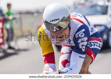 LE MONT SAINT MICHEL,FRANCE-JUL 10:The German cyclist Andre Greipel from Lotto-Belisol Team cycling during the stage 11 of Le Tour de France 2013, a time trial between Avranches and Mont Saint Michel - stock photo